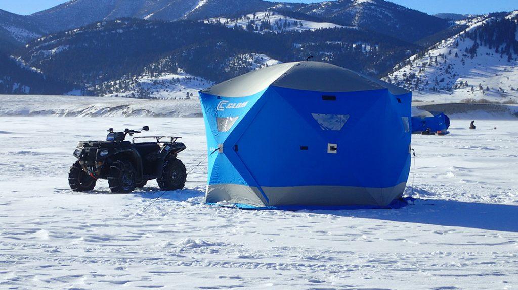ice fishing, shelter, ATV, frozen lake