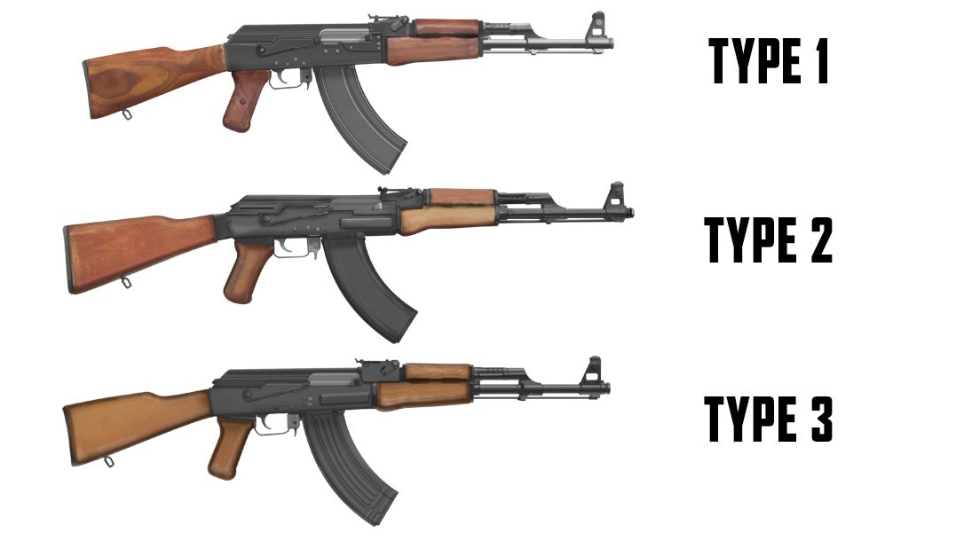 Russian AKs Type 1, Type 2 and Type 3.