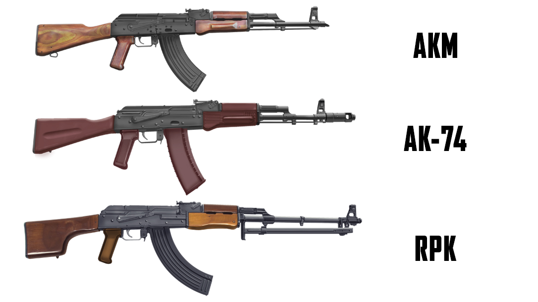 Russian AKM, AK-74 and RPK.