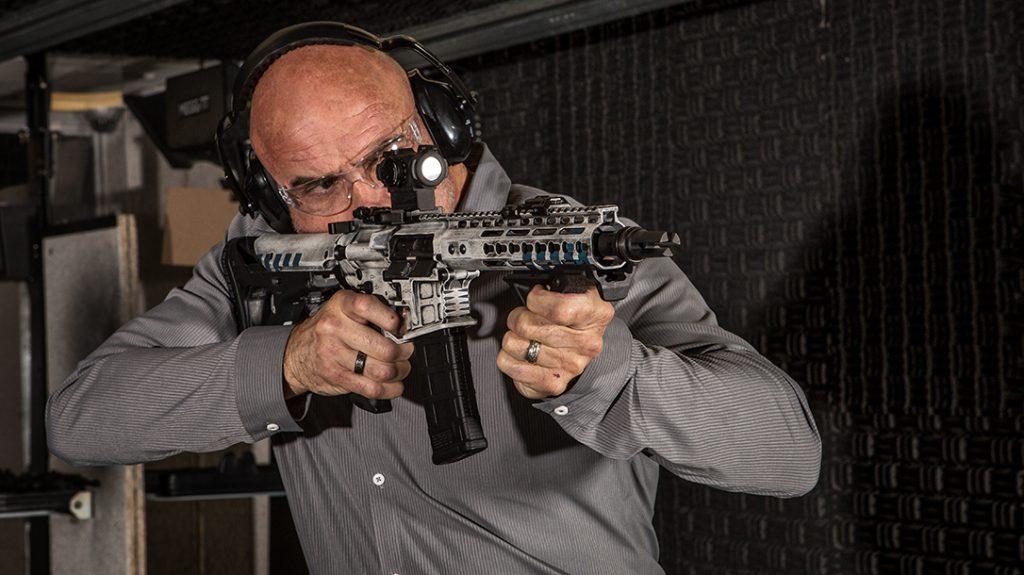 Bas Rutten, rifle, shooting range