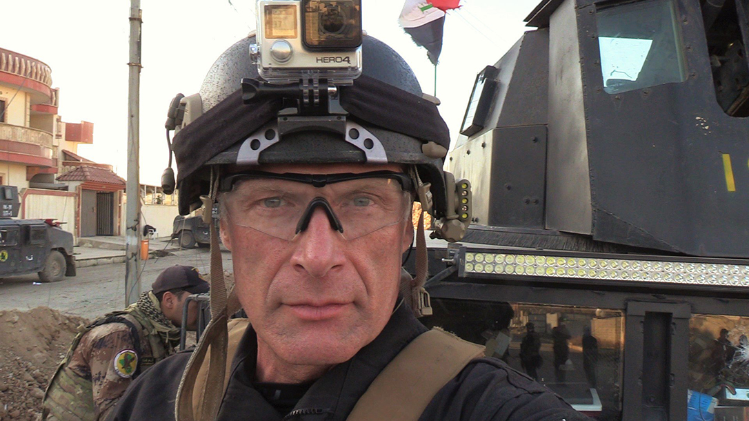 Photo of Mitch Utterback in Mosul as a combat correspondent.