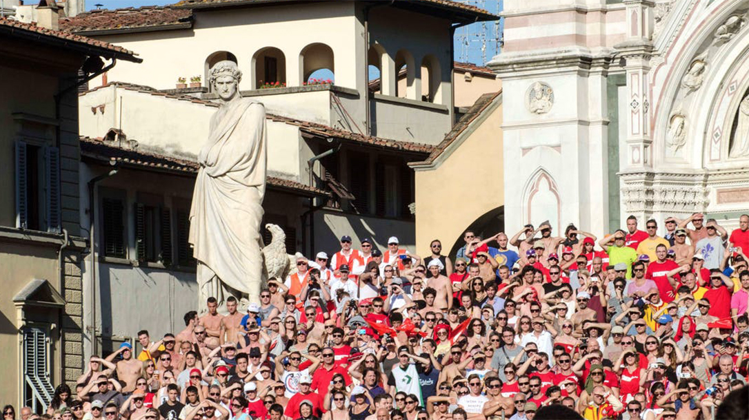 Crowds Form To Watch The Calcio Fiorentino Match in Florence