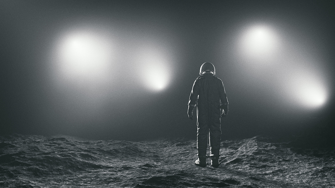 Is the astronaut on the moon or are those lights for a camera crew?
