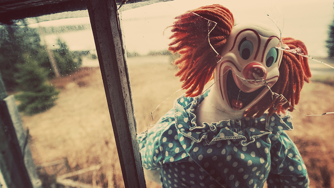 Creepy clown looking in the window!