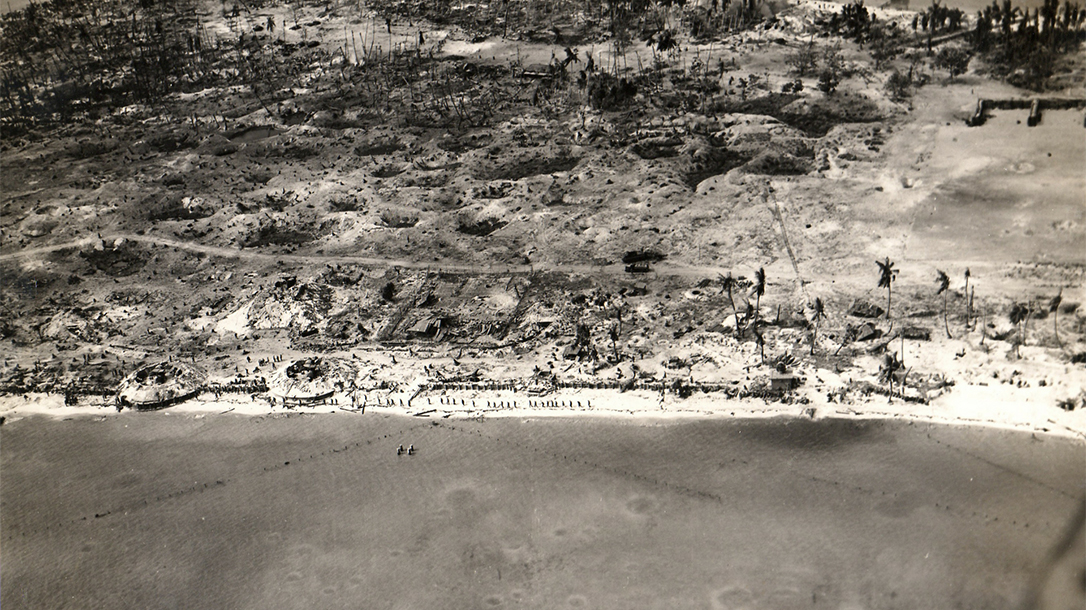 View of the beach of Betio Island, Tarawa Atoll, Gilbert Islands, after the US invasion in November 1943.