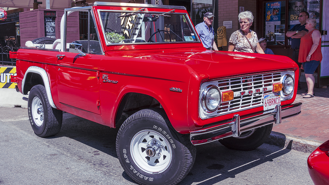 A classic Ford Bronco is a sight for sore eyes in a sea of compacts.