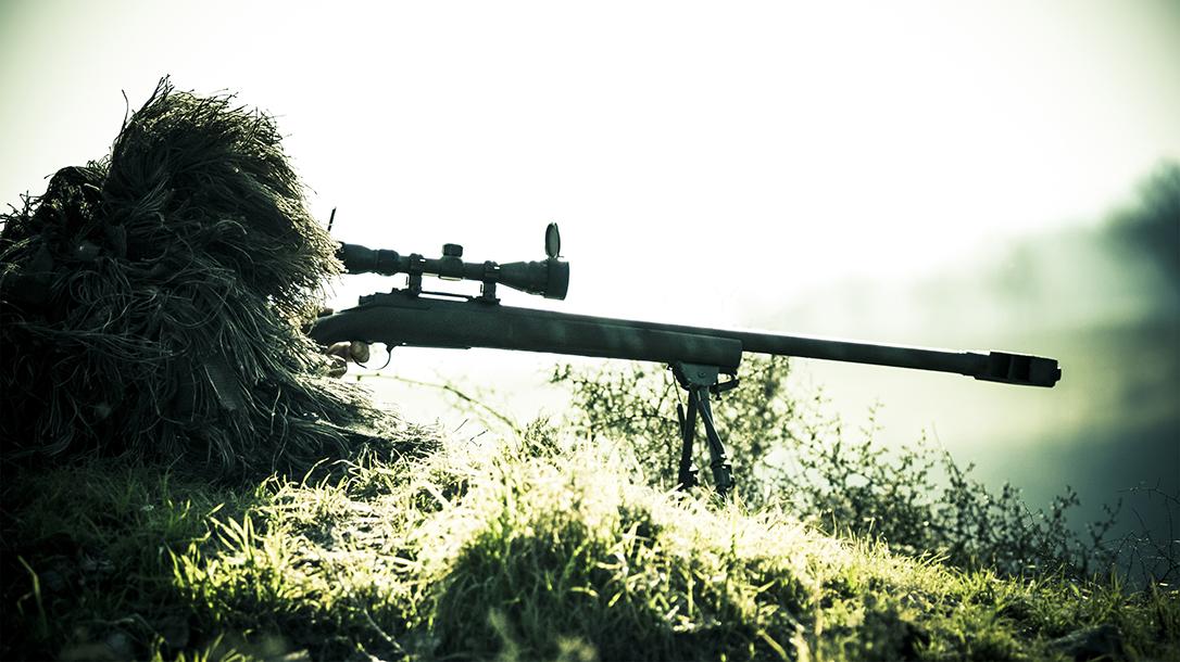 A sniper taking aim.