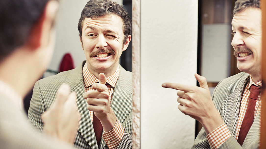 A narcissist looking at his reflection in the mirror!