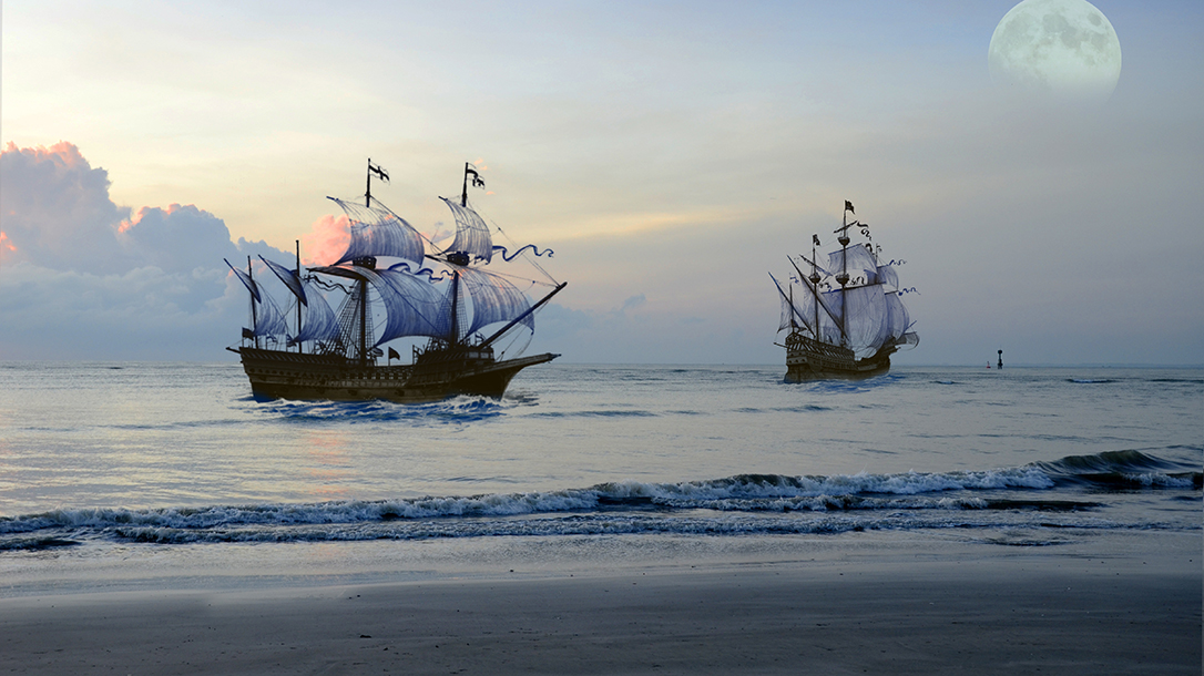 Pirate ships were rich with rum.