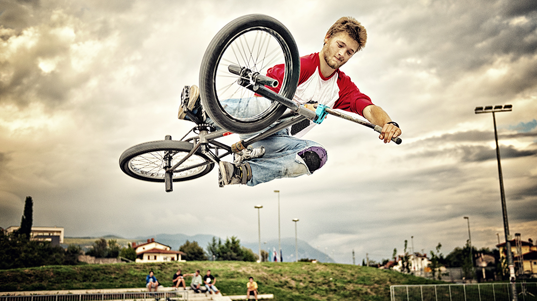 BMX rider showing off some cool tricks!